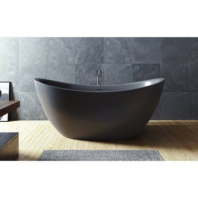 Purescape 171 Solid Surface 72 x 39.25 Freestanding Soaking Bathtub