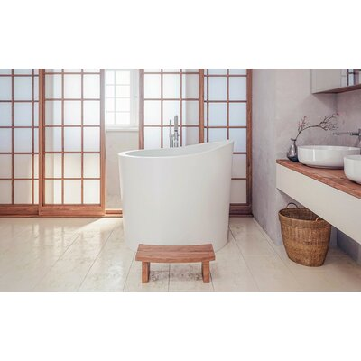 True Ofuro Stone 43.25 x 43 Freestanding Japanese Soaking Bathtub