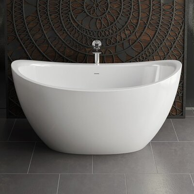 Purescape 171 Solid Surface 63 x 38.75 Freestanding Soaking Bathtub