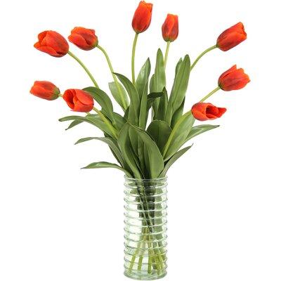 Furniture-Distinctive Designs Waterlook Silk Tulips in Ribbed Vase