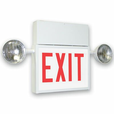 Chicago Steel Red LED Exit Sign and Emergency Combination in Bright White