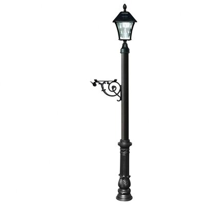Lewiston Post (Ornate Base and Solar Lamp) Color: Black