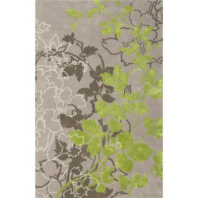 Dahlia Light Gray / Green Area Rug Rug Size: 79 x 106