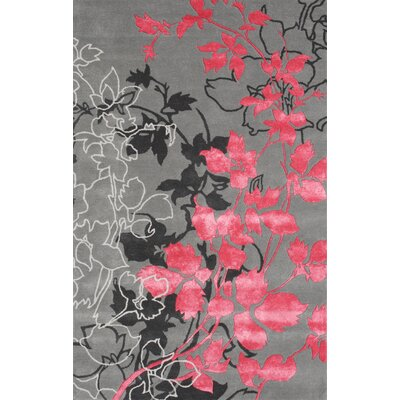Dahlia Gray / Pink Area Rug Rug Size: 79 x 106