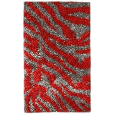 Pearl Gray / Red Area Rug Rug Size: 8 x 11