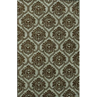 Prima Light Blue / Dark Brown Area Rug Rug Size: 5 x 76