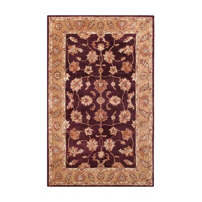 Golden Burgundy/Gold Area Rug Rug Size: 5 x 8