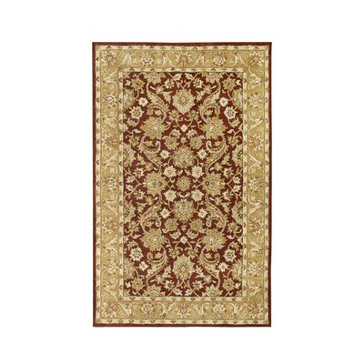 Harmony Burgundy/Gold Floral Area Rug Rug Size: Runner 23 x 8
