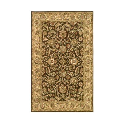 Harmony Brown/Gold Floral Area Rug Rug Size: 36 x 56