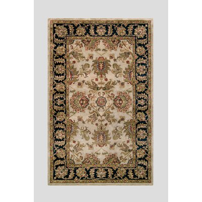 Harmony Beige/Black Floral Area Rug Rug Size: 36 x 56