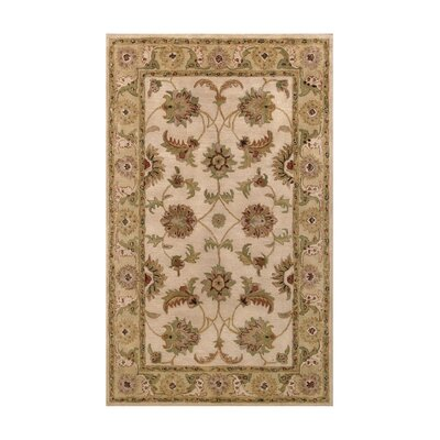 Harmony Beige/Light Green Floral Area Rug Rug Size: 36 x 56