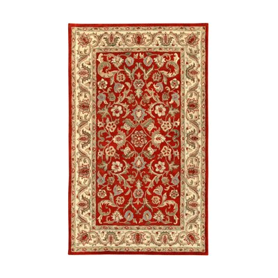 Harmony Red/Beige Floral Area Rug Rug Size: 5 x 8