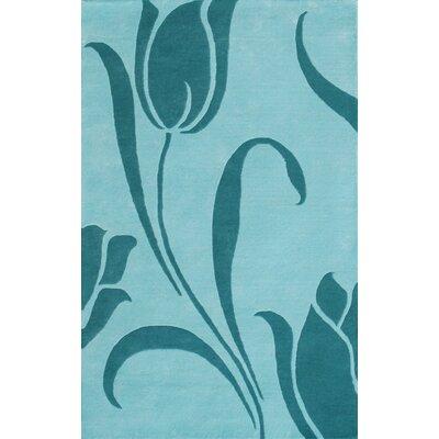 Floral Light Blue Area Rug Rug Size: 5 x 8