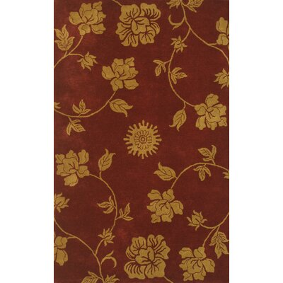 Floral Red Area Rug Rug Size: 5 x 8