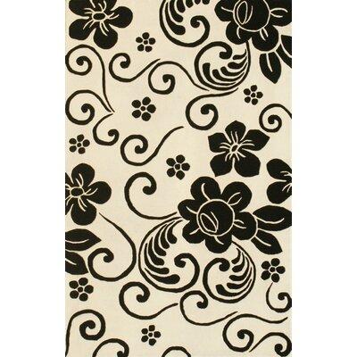 Floral White & Black Area Rug Rug Size: 8 x 11
