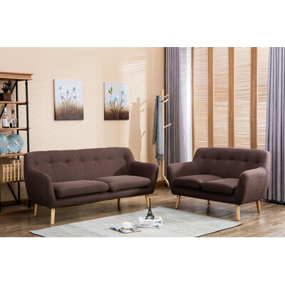 Albany 2 Piece Living Room Set Upholstery: Brown