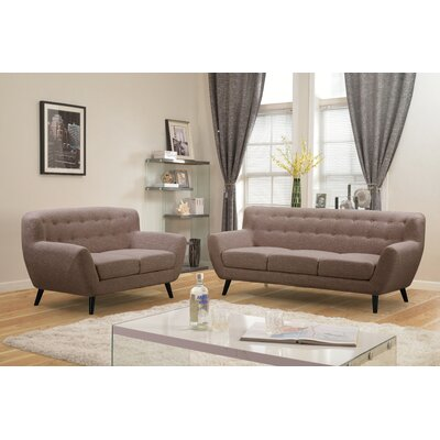 Darwin 2 Piece Living Room Set Upholstery: Brown