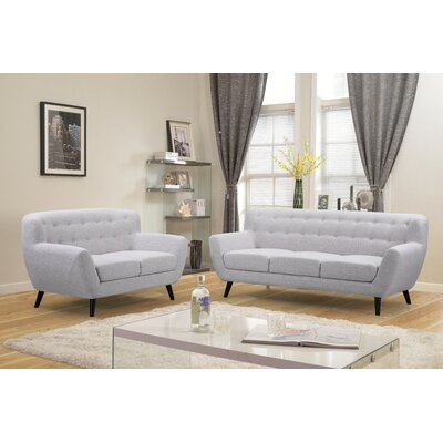 Darwin Sofa and Loveseat Set Upholstery: Light Gray
