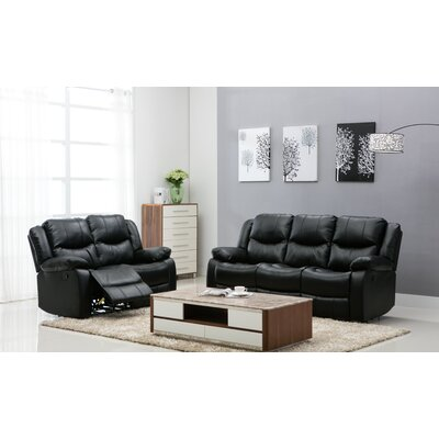 Madison 2 Piece Living Room Set Upholstery: Black
