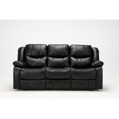 Madison Recliner Reclining Sofa Upholstery: Black