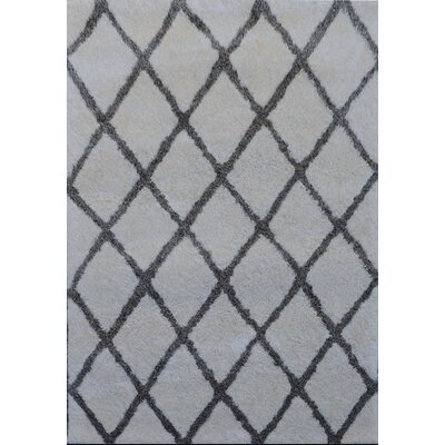 Gallant Handmade Shag Cream/Gray Area Rug Size: Rectangle 5 x 7