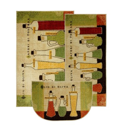 New Wave 3 Piece Kitchen Toscana Area Rug Set