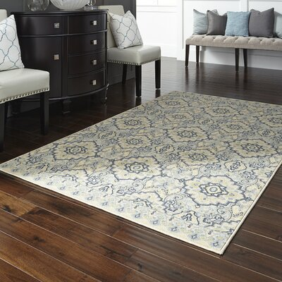 Montville Santa Ana Blue/Cream Area Rug Rug Size: Rectangle 76 x 10