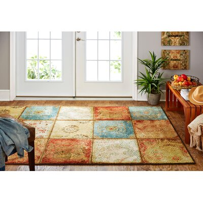 Aftonshire Red/Blue Area Rug Rug Size: Rectangle 76 x 10