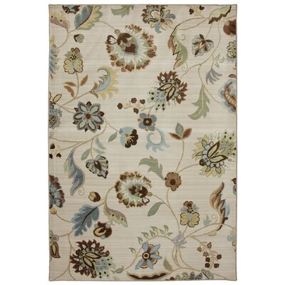 Serenity Butter Pecan Floral Rug Rug Size: 36 x 56
