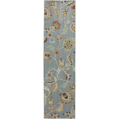 Serenity Slate Floral Sol Star Rug Rug Size: Runner 2'1