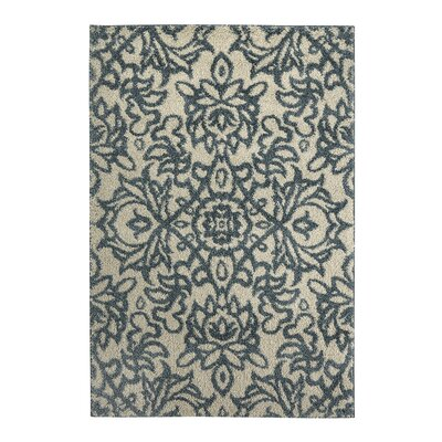 Augusta Spokane Beige and Blue Area Rug Rug Size: 34 x 56