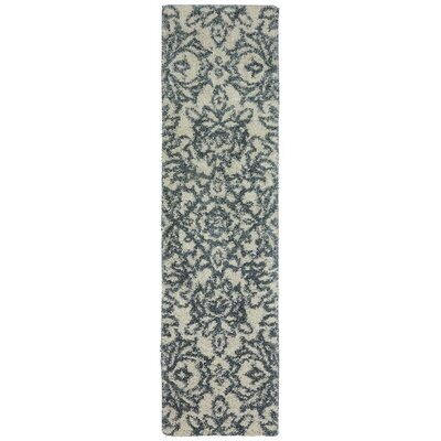 Augusta Spokane Beige and Blue Area Rug Rug Size: Runner 2 x 79