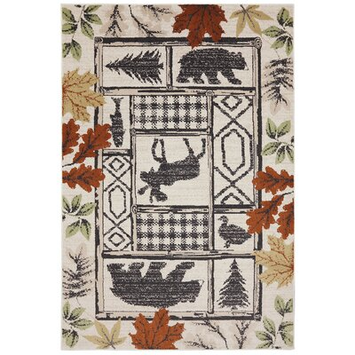 Madison Autumn Leaves Linen Area Rug Rug Size: 36 x 56