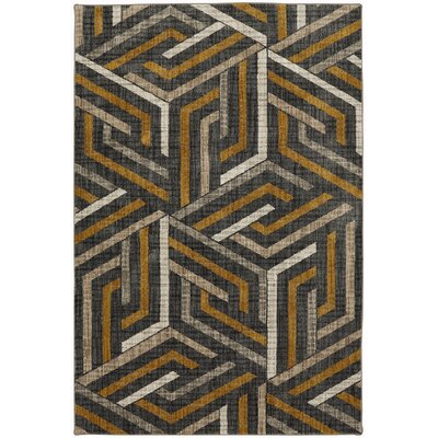 Metropolitan Aster Gray/Black Area Rug Rug Size: Rectangle 96 x 1211
