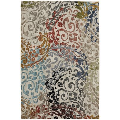 Metropolitan White/Gray Area Rug Rug Size: Rectangle 53 x 710