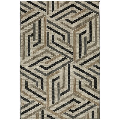 Metropolitan Beige/Black Area Rug Rug Size: Rectangle 53 x 710