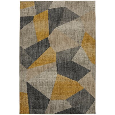 Metropolitan Gray/Black/Yellow Area Rug Rug Size: Rectangle 53 x 710