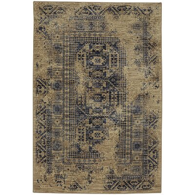 Providence Kezar Latte/Blue Area Rug Rug Size: Rectangle 53 x 710