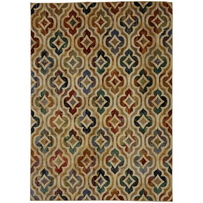Savannah Tan/Blue Area Rug Rug Size: Rectangle 53 x 710