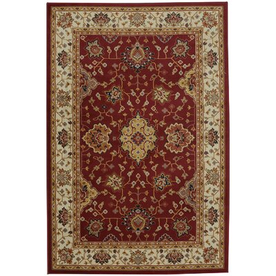 Red/Ivory Area Rug Size: Rectangle 8 x 11