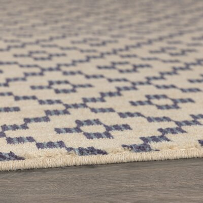 Paulette Simple Lattice Indigo Area Rug Rug Size: 35 x 52
