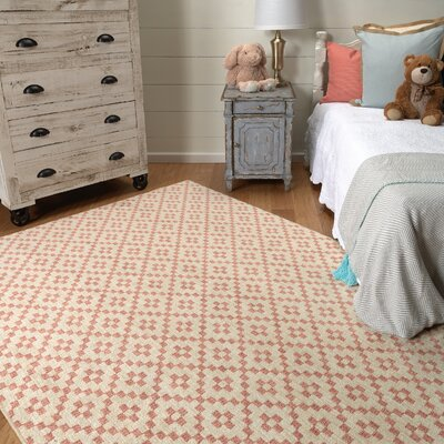 Paulette Simple Lattice Coral Area Rug Rug Size: 8 x 10