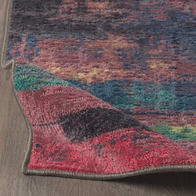 Vermont Eroded Pink/Green/Black Area Rug Rug Size: 5 x 8