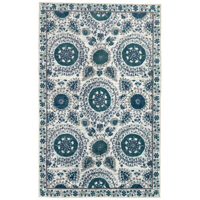 Lagouira Suzani Aqua/Cream Area Rug Rug Size: Rectangle 76 x 10