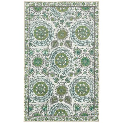 Lagouira Suzani Leaf Cream/Lime/Teal Area Rug Rug Size: Rectangle 76 x 10