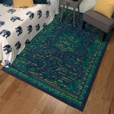 Damarion Teal/Green Area Rug Rug Size: Rectangle 5 x 8