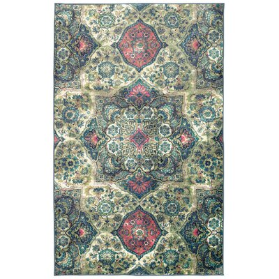 Asherman Teal/Pink/Green Area Rug Rug Size: Rectangle 76 x 10