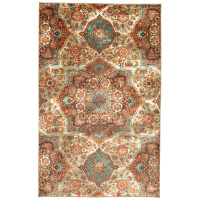 Asherman Kaleidoscope Beige/Orange Area Rug Rug Size: 5 x 8