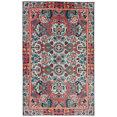 Asherman Orange/Blue Area Rug Rug Size: 5 x 8