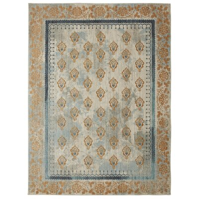 Lakeside Cottage Gold/Blue Area Rug Rug Size: 53 x 710